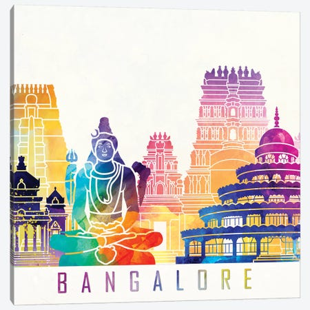 Bangalore Landmarks Watercolor Poster Canvas Print #PUR62} by Paul Rommer Canvas Wall Art
