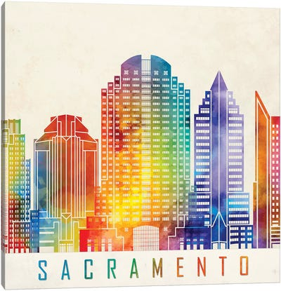 Sacramento Landmarks Watercolor Poster Canvas Art Print