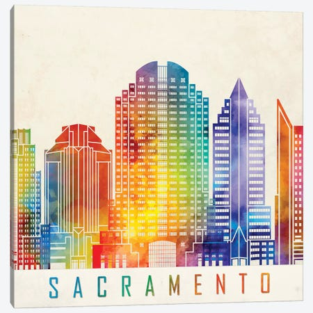 Sacramento Landmarks Watercolor Poster Canvas Print #PUR630} by Paul Rommer Canvas Print