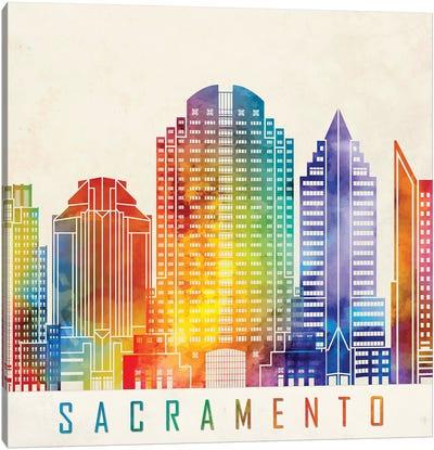 Sacramento Landmarks Watercolor Poster Canvas Art Print