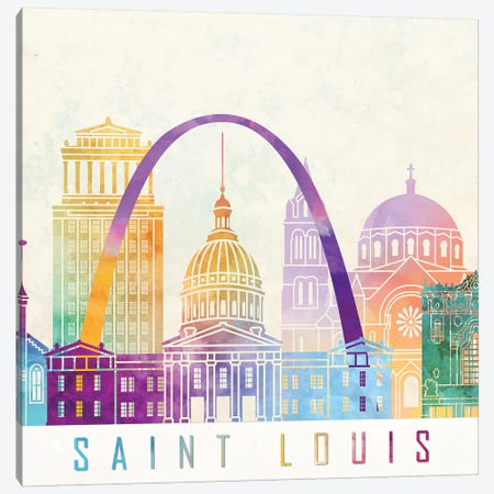 Saint Louis Landmarks Watercolor Poster Canvas Print #PUR632} by Paul Rommer Canvas Art Print