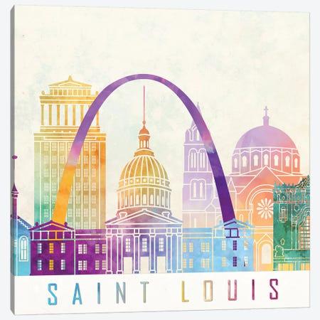 Saint Louis Landmarks Watercolor Poster Canvas Print #PUR632} by Paul Rommer Canvas Art Print