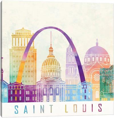 Saint Louis Landmarks Watercolor Poster Canvas Art Print