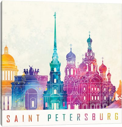 Saint Petersburg Landmarks Watercolor Poster Canvas Art Print