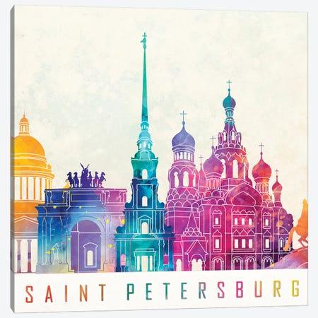 Saint Petersburg Landmarks Watercolor Poster Canvas Print #PUR634} by Paul Rommer Canvas Art