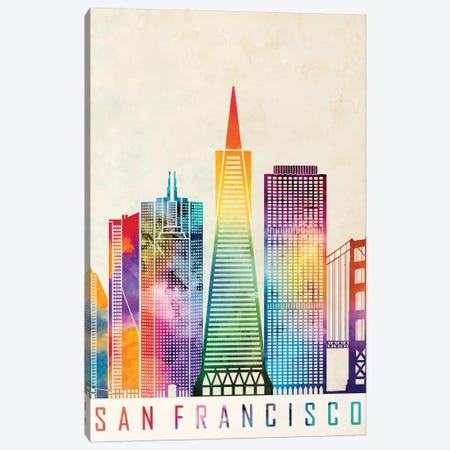 San Francisco Landmarks Watercolor Poster Canvas Print #PUR638} by Paul Rommer Canvas Art Print