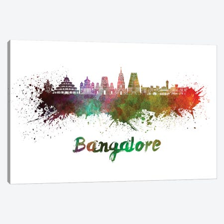 Bangalore Skyline In Watercolor Canvas Print #PUR63} by Paul Rommer Canvas Art