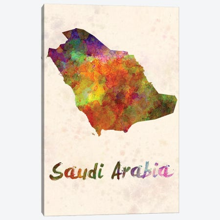 Saudi Arabia In Watercolor Canvas Print #PUR640} by Paul Rommer Canvas Art