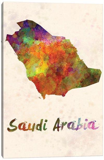 Saudi Arabia In Watercolor Canvas Art Print