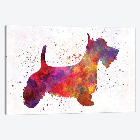 Scottish Terrier In Watercolor Canvas Print #PUR645} by Paul Rommer Canvas Print