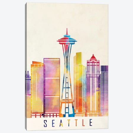 Seattle Landmarks Watercolor Poster Canvas Print #PUR647} by Paul Rommer Canvas Art Print