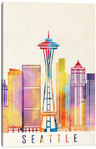 Seattle Landmarks Watercolor Poster Canvas Art Print