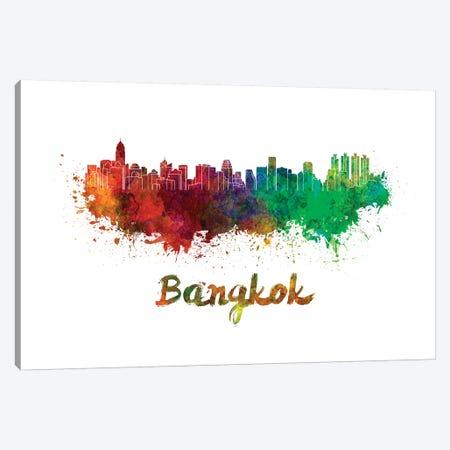 Bangkok Skyline In Watercolor 3-Piece Canvas #PUR64} by Paul Rommer Art Print