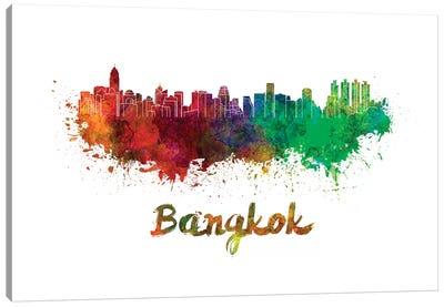 Bangkok Skyline In Watercolor Canvas Art Print