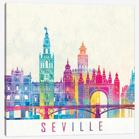 Seville Landmarks Watercolor Poster Canvas Print #PUR650} by Paul Rommer Art Print