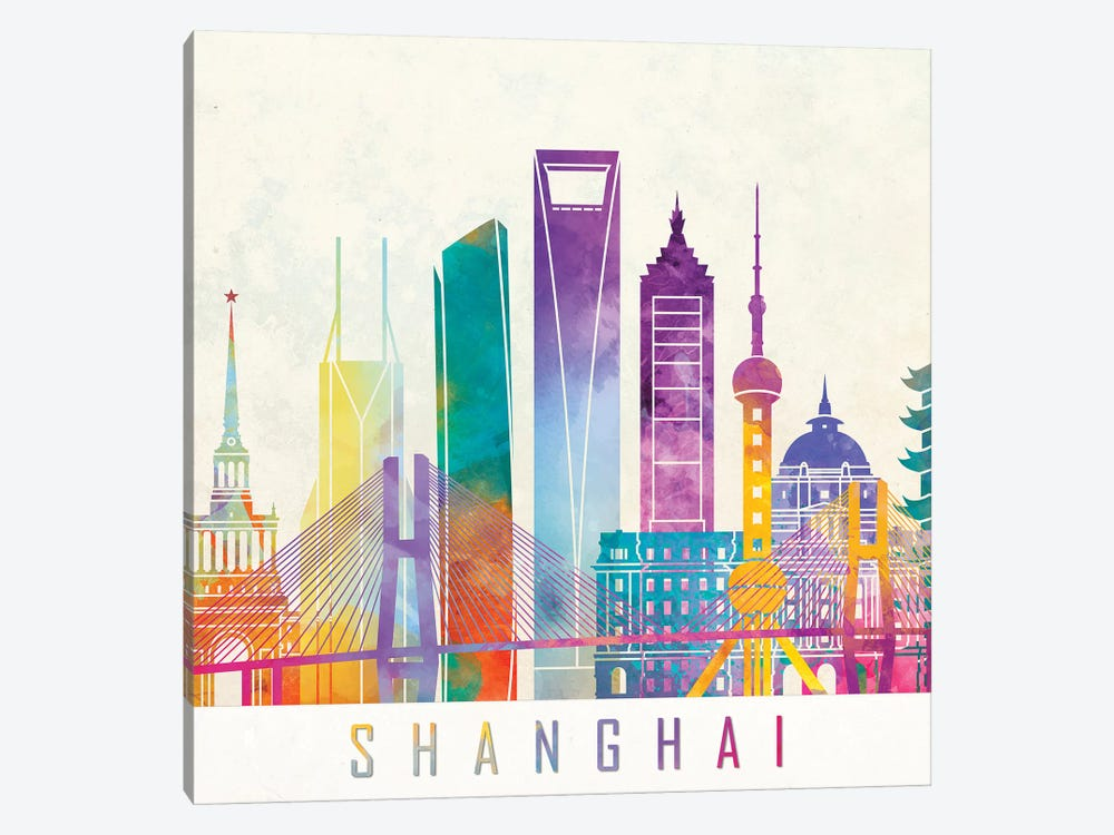Shanghai Landmarks Watercolor Poster by Paul Rommer 1-piece Canvas Art Print