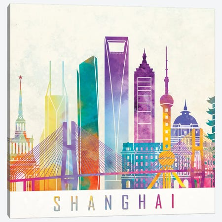 Shanghai Landmarks Watercolor Poster Canvas Print #PUR651} by Paul Rommer Canvas Print
