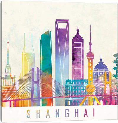 Shanghai Landmarks Watercolor Poster Canvas Art Print