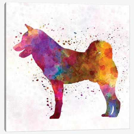 Shiba Inu In Watercolor Canvas Print #PUR653} by Paul Rommer Canvas Art Print