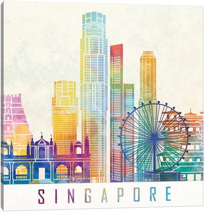 Singapore Landmarks Watercolor Poster Canvas Art Print