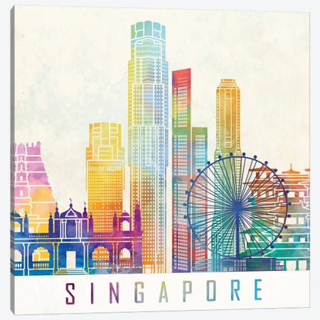 Singapore Landmarks Watercolor Poster Canvas Print #PUR658} by Paul Rommer Canvas Art Print