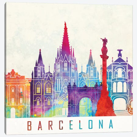 Barcelona Landmarks Watercolor Poster Canvas Print #PUR65} by Paul Rommer Canvas Art Print