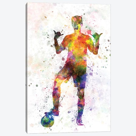 Soccer Football Player Young Man Saluting Canvas Print #PUR667} by Paul Rommer Canvas Art Print