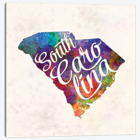 South Carolina US State In Watercolor Text Cut Out Canvas Print #PUR669} by Paul Rommer Canvas Artwork