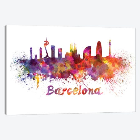 Barcelona Skyline In Watercolor Canvas Print #PUR66} by Paul Rommer Art Print