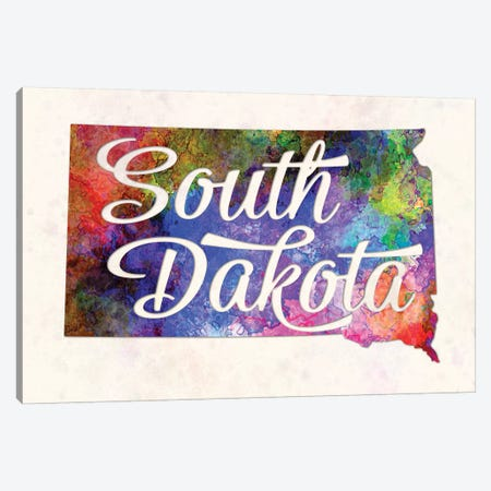 South Dakota US State In Watercolor Text Cut Out Canvas Print #PUR670} by Paul Rommer Canvas Print