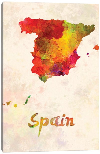 Spain In Watercolor Canvas Art Print