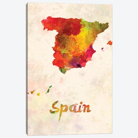 Spain In Watercolor Canvas Print #PUR673} by Paul Rommer Canvas Print