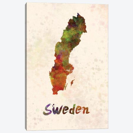 Sweden In Watercolor Canvas Print #PUR680} by Paul Rommer Canvas Art