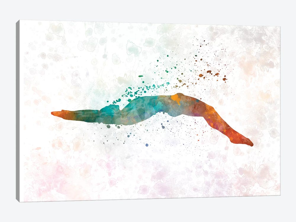 Swimming Silhouette III by Paul Rommer 1-piece Canvas Artwork