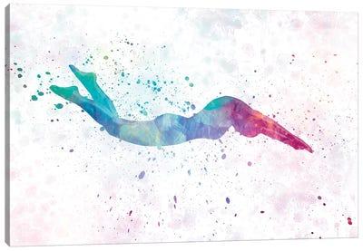 Swimming Silhouette IV Canvas Art Print