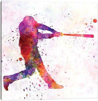 Baseball Player Hitting A Ball I Canvas Art Print