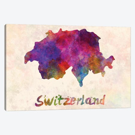 Switzerland In Watercolor 3-Piece Canvas #PUR690} by Paul Rommer Canvas Print
