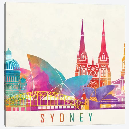 Sydney Landmarks Watercolor Poster Canvas Print #PUR691} by Paul Rommer Canvas Art Print