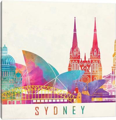Sydney Landmarks Watercolor Poster Canvas Art Print