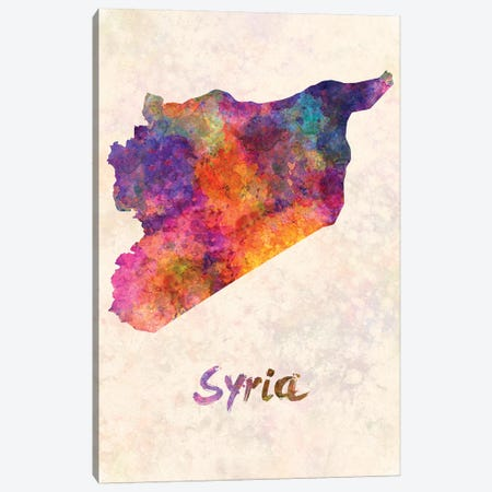Syria In Watercolor Canvas Print #PUR692} by Paul Rommer Canvas Art Print