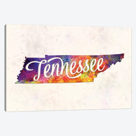 Tennessee US State In Watercolor Text Cut Out Canvas Print #PUR696} by Paul Rommer Canvas Wall Art