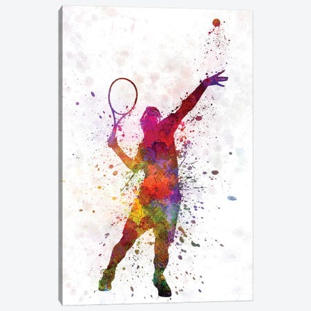 Tennis Player At Service Serving Silhouette I 3-Piece Canvas #PUR697} by Paul Rommer Canvas Artwork