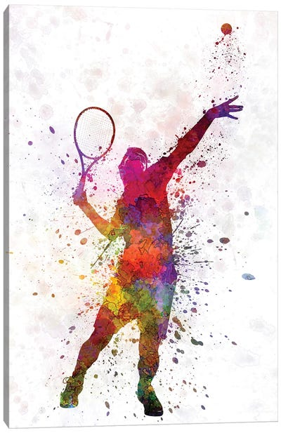 Tennis Player At Service Serving Silhouette I Canvas Art Print