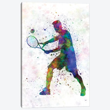 Tennis Player In Silhouette I Canvas Print #PUR699} by Paul Rommer Art Print