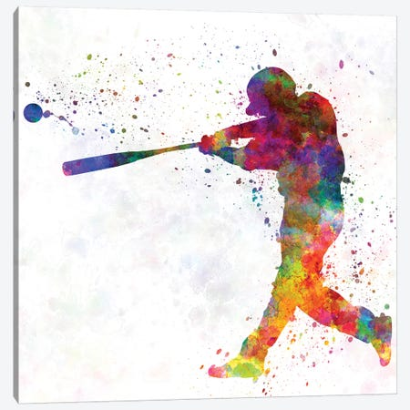 Baseball Player Hitting A Ball II Canvas Print #PUR69} by Paul Rommer Canvas Art
