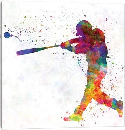 Baseball Player Hitting A Ball II Canvas Art Print
