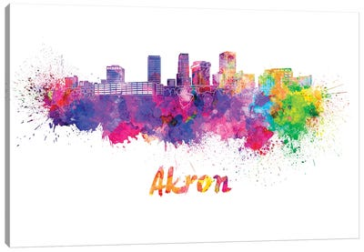 Akron Oh Skyline In Watercolor Canvas Art Print