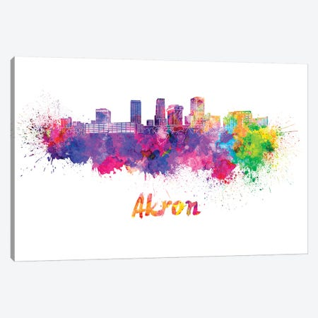 Akron Oh Skyline In Watercolor Canvas Print #PUR6} by Paul Rommer Canvas Print