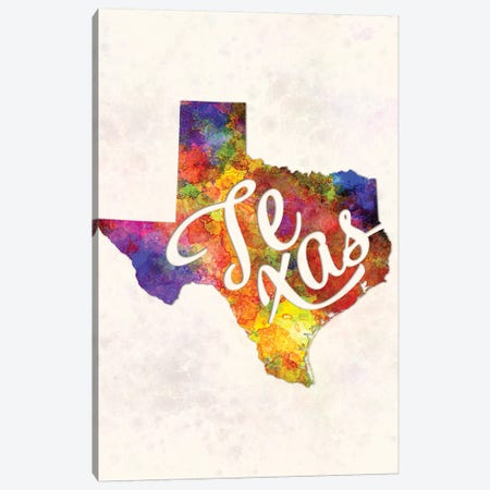 Texas US State In Watercolor Text Cut Out Canvas Print #PUR701} by Paul Rommer Canvas Print