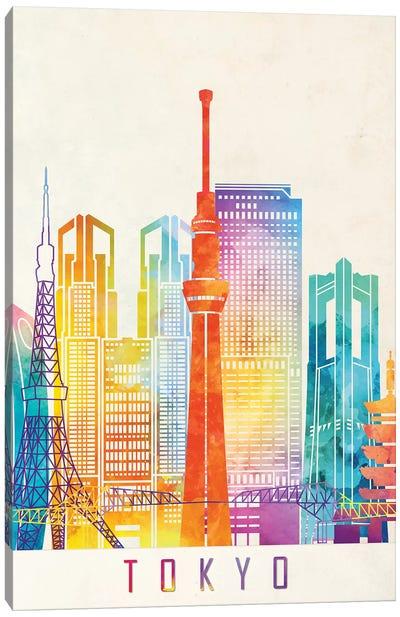 Tokyo Landmarks Watercolor Poster Canvas Art Print